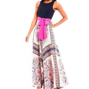 Eliza j maxi dress scarf print tie waist s12